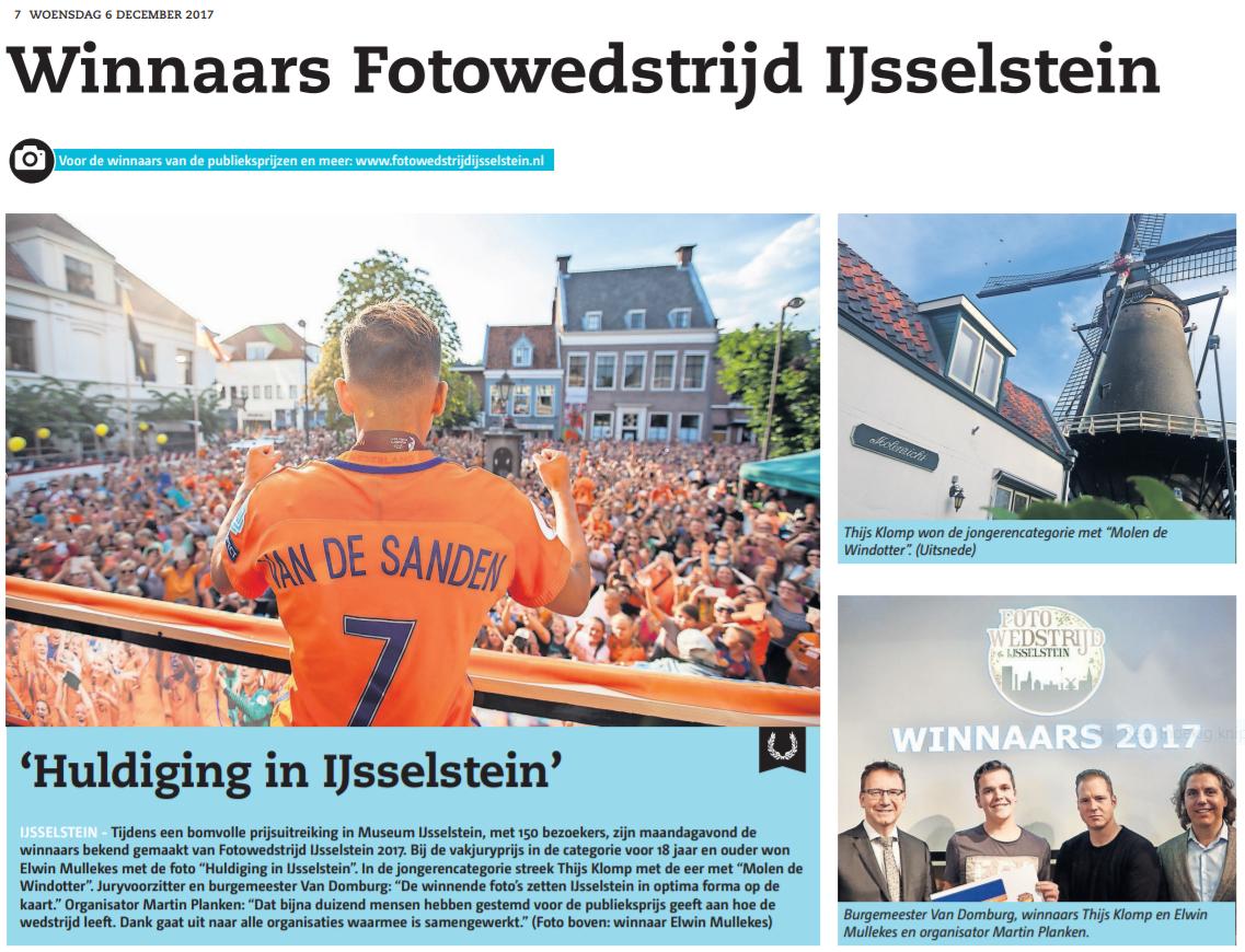 Prijsuitreiking Winnaars Fotowedstrijd IJsselstein 2017 - organisator Martin Planken