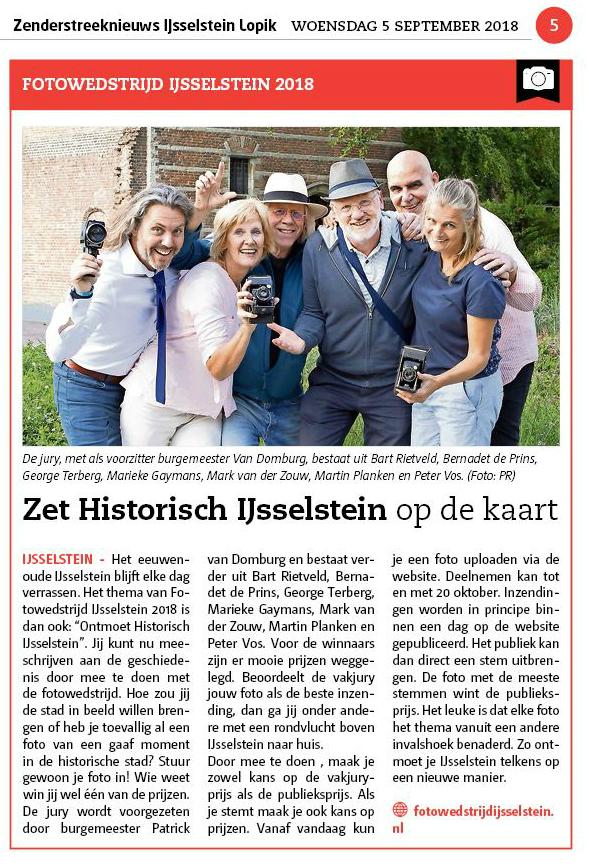 Zenderstreeknieuws IJsselstein Lopik 5 september 2018 - start Fotowedstrijd IJsselstein 2018