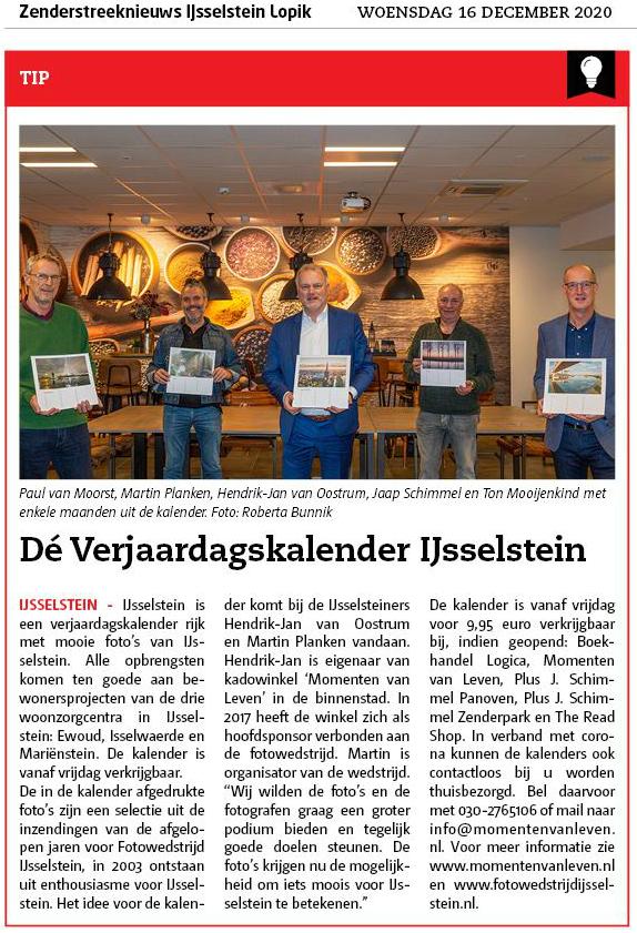 Verjaarskalender IJsselstein - Zenderstreeknieuws - Jaap Schimmel - Hendrik-Jan van Oostrum - Martin Planken - Paul van Moorst - Ton Mooijenkind - 16-12-2020