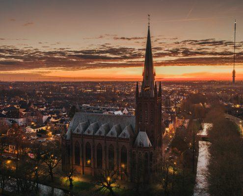 """Winnaar Momenten van Leven Fotowedstrijd IJsselstein 2019, categorie drone - Jeroen Brouwer - """"Het magische uur in IJsselstein"""""""